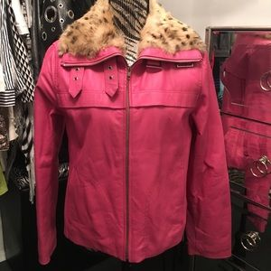 Wilson's 100% Leather Pink Jacket with Fur Collar